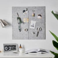 Two Felt Wall Self Adhesive Memo Notice Pin Boards – Peel and Stick Noticeboard Tiles - Light Grey
